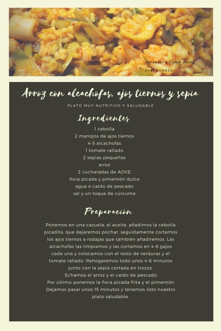 Arroz con alcachofas,ajos tiernos y sepia-4
