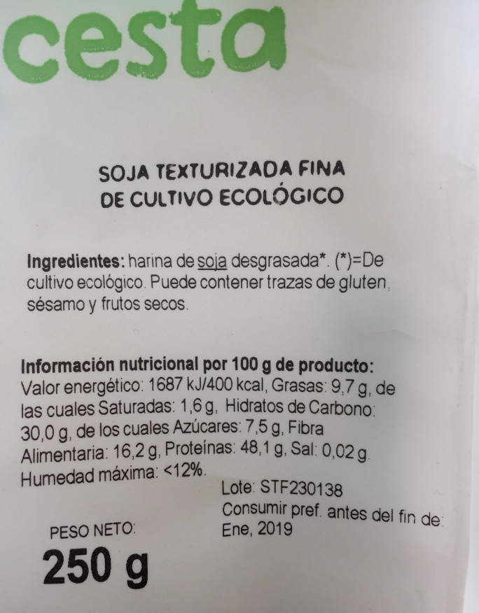Ingredientes soja texturizada