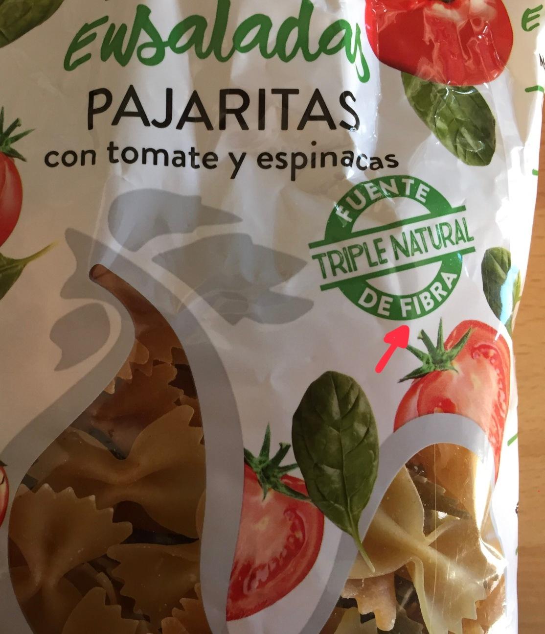 Esta no es integral,a pesar de que anuncie su alto contenido en fibra, también la cantidad de tomate o espinacas es extremadamente ridícula, sin embargo debemos comprobarlo en el listado de ingredientes..