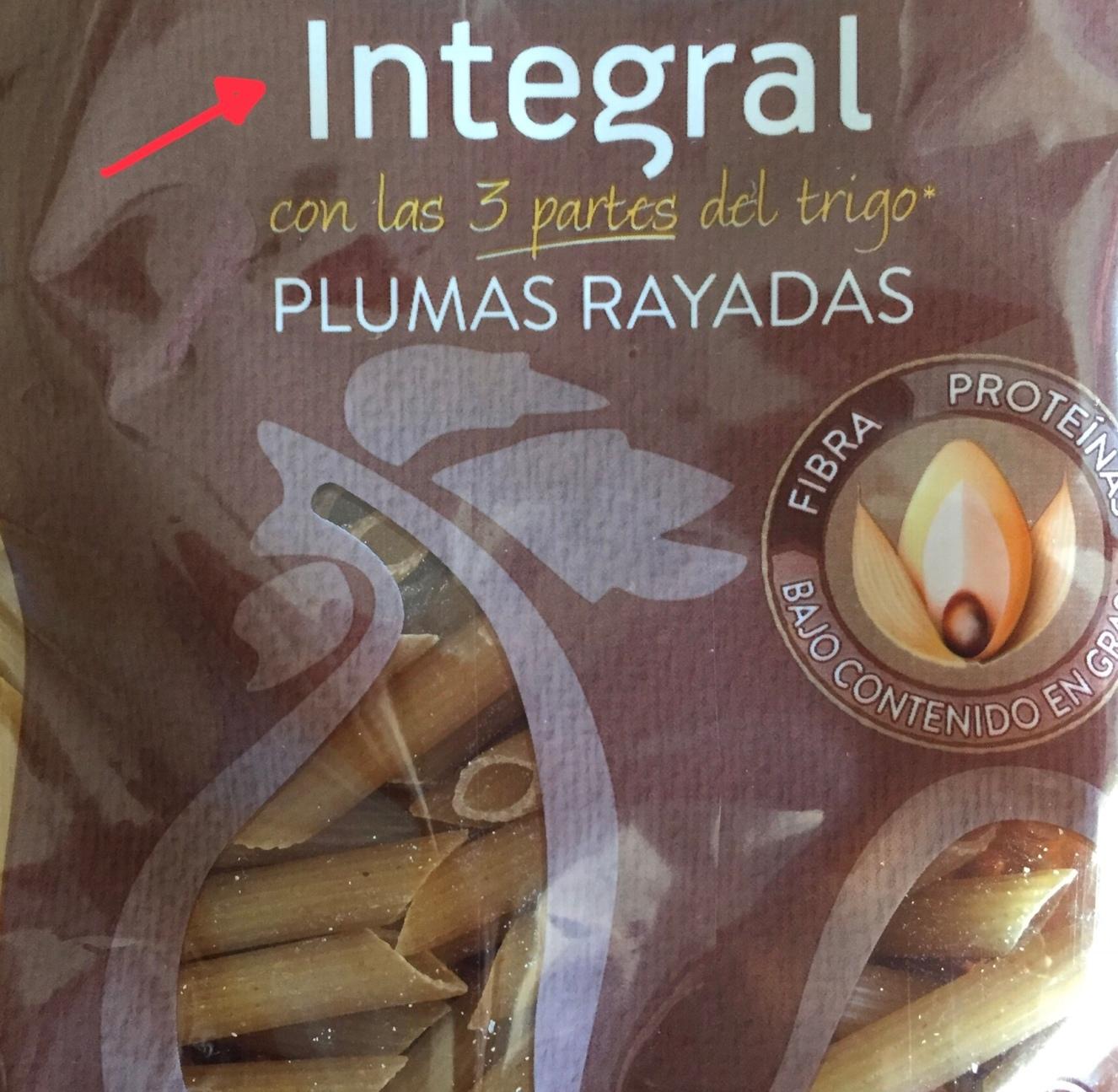 Letras en grande no es garantia de que sea integral cien por cien, necesitamos leer los ingredientes en la parte de atrás para poder confirmarlo